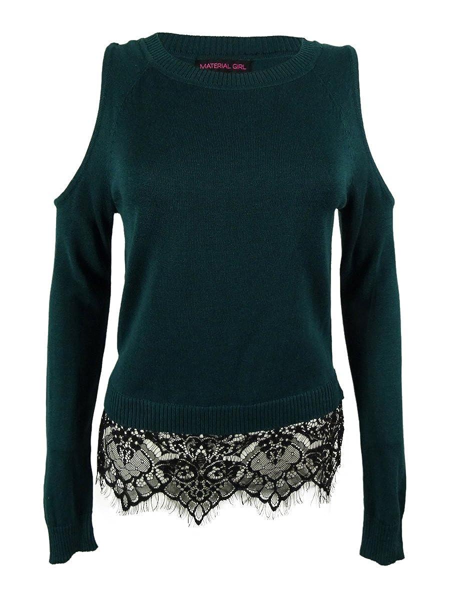 Material Girl Juniors Cold Shoulder Lace Hem Sweater