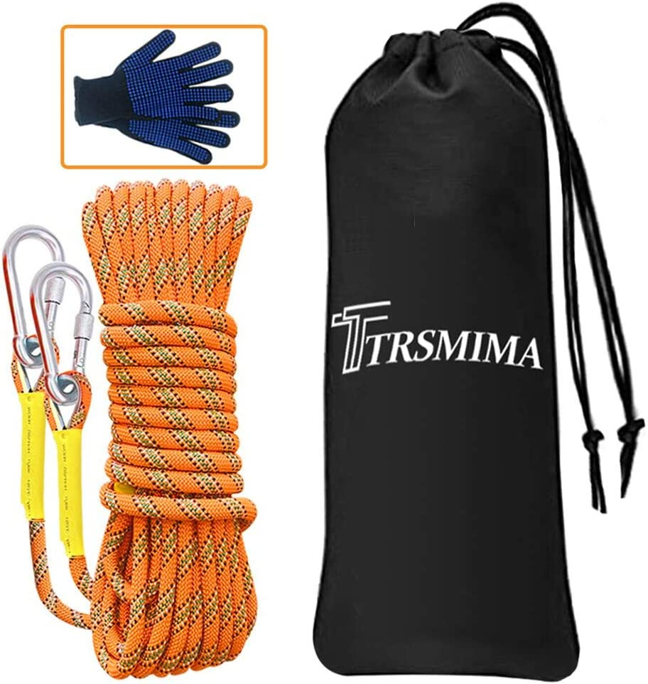 64ft Tree Climbing Rappelling Rope with Safety Working Gloves Escape Rope Fire Rescue Parachute Rope Trsmima Outdoor Climbing Rope 32ft 20M 30M 96ft 8MM Diameter Static Rock Climbing Rope 10M