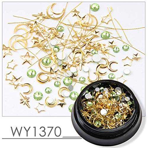 Mix Gold Copper Nail Rivet Ocean Flower Star Moon Design Punk Nail Jewlery Silver 3D Nail Art Decoration WY1370 -