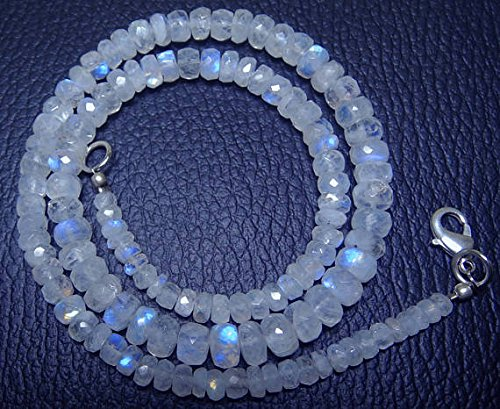 1 Strand Natural 16 inch AAA+++ Blue Flash top Quality Rainbow Moonstone Faceted Rondelle Big Beads Necklace Briolettes 3.5 to 7 -