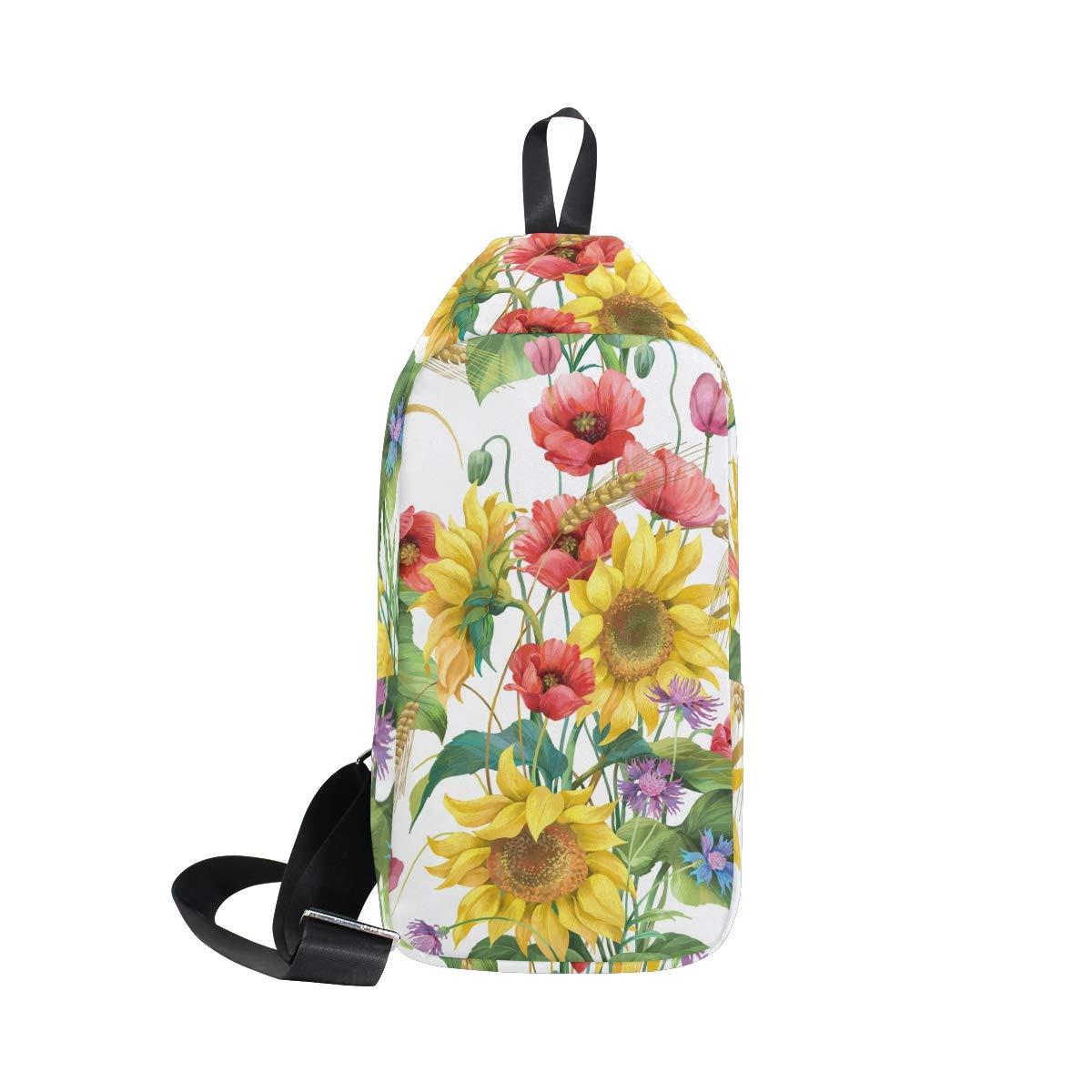 TFONE Flower Floral Sunflower Crossbody Bag Lightweight Chest Shoulder Messenger Pack Backpack Sling Bag
