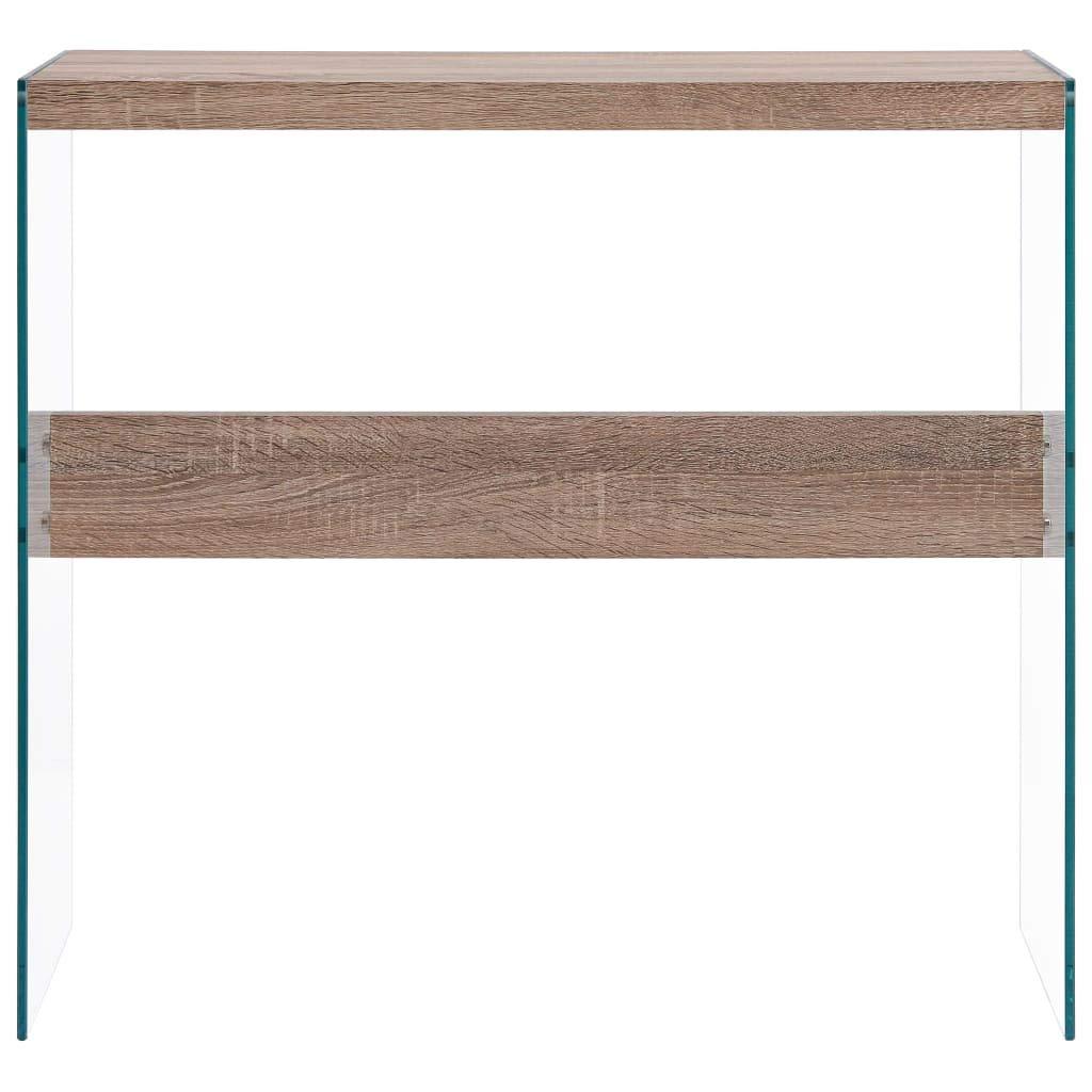vidaXL Tavolo Consolle Elegante Decorativo Robusto Tavolino da Salotto Bianco 82x29x75,5 cm in MDF Lucido e Vetro Temperato