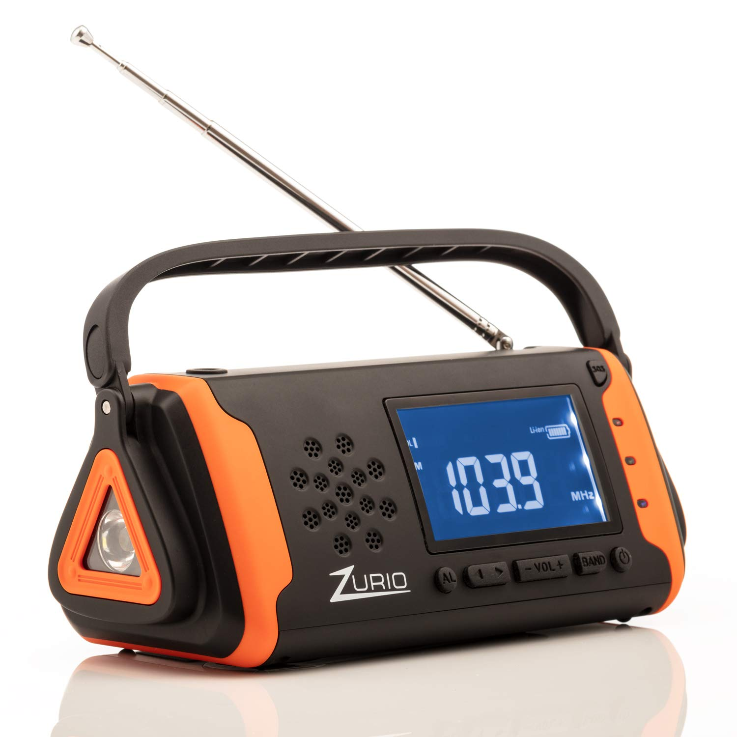 Emergency Radio with NOAA Weather Alert - Hand Crank and Solar Power - AM FM Survival Radio with Flashlight, Cell Phone Charger, and SOS Alarm with Battery Backup by Zurio