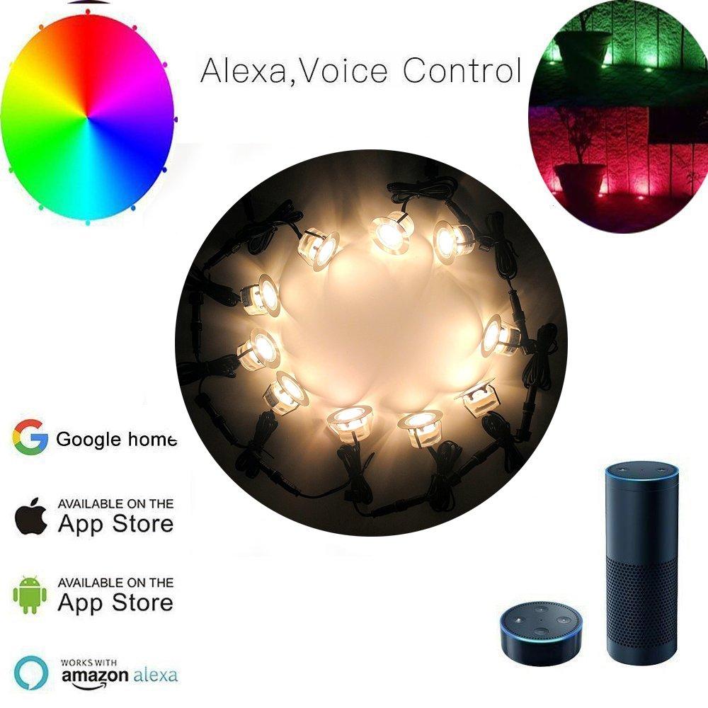 Wi-Fi Faretti incasso led,6pcs RGB LED da Incasso faretto a Pavimento Funziona con Alexa WiFi Mobile Smart Phone /Ø45mm Ip67 Incasso Impermeabile faretti Kit Completi
