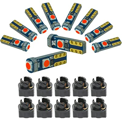 DODOFUN Red T5 37 74 LED Bulb with Twist Lock Socket PC74 PC37 Dashboard Instrument Panel Gauge Cluster Light Pack of 10: Automotive