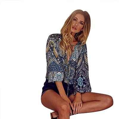 Ansenesna 2018 Femme Amincissant T-Shirt Chemise Bohême Imprimé Fleur Manche 3/4 Tops Tunique
