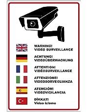 """'Plaque """"Attention Surveillance vidéo en plusieurs langues en PVC mousse rigide Plaque 200x 300mm–3mm d'épaisseur"""