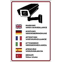 """'Plaque """"Attention Surveillance vidéo en plusieurs langues en"""