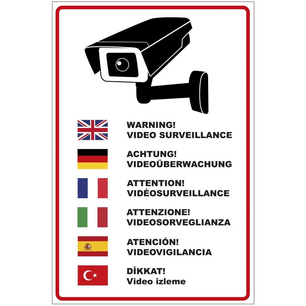'Plaque 'Attention Surveillance vidé o en plusieurs langues en PVC mousse rigide Plaque 200 x 300 mm –  3 mm d'é paisseur geschenke-fabrik