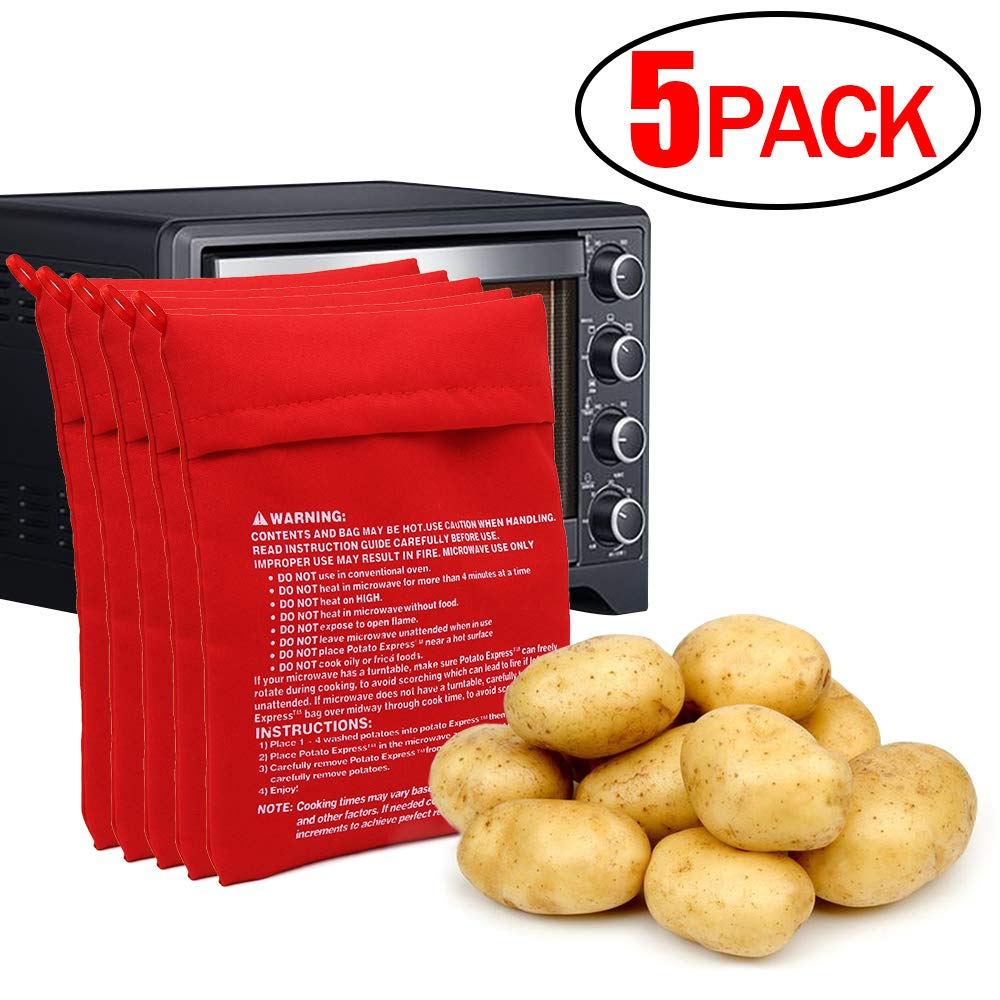 CCCsee Potato Microwave Potato just in 4 minutes Express. Red Baked Pouch&Baking Bag. (5 Pack)