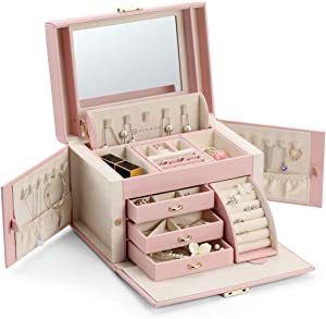 Vlando Lockable Jewelry Box Organizers with Key, Small Travel Earrings and Rings Jewelry Box on Top Included, Vintage Gift Case Packing for Ladies Women, Pink