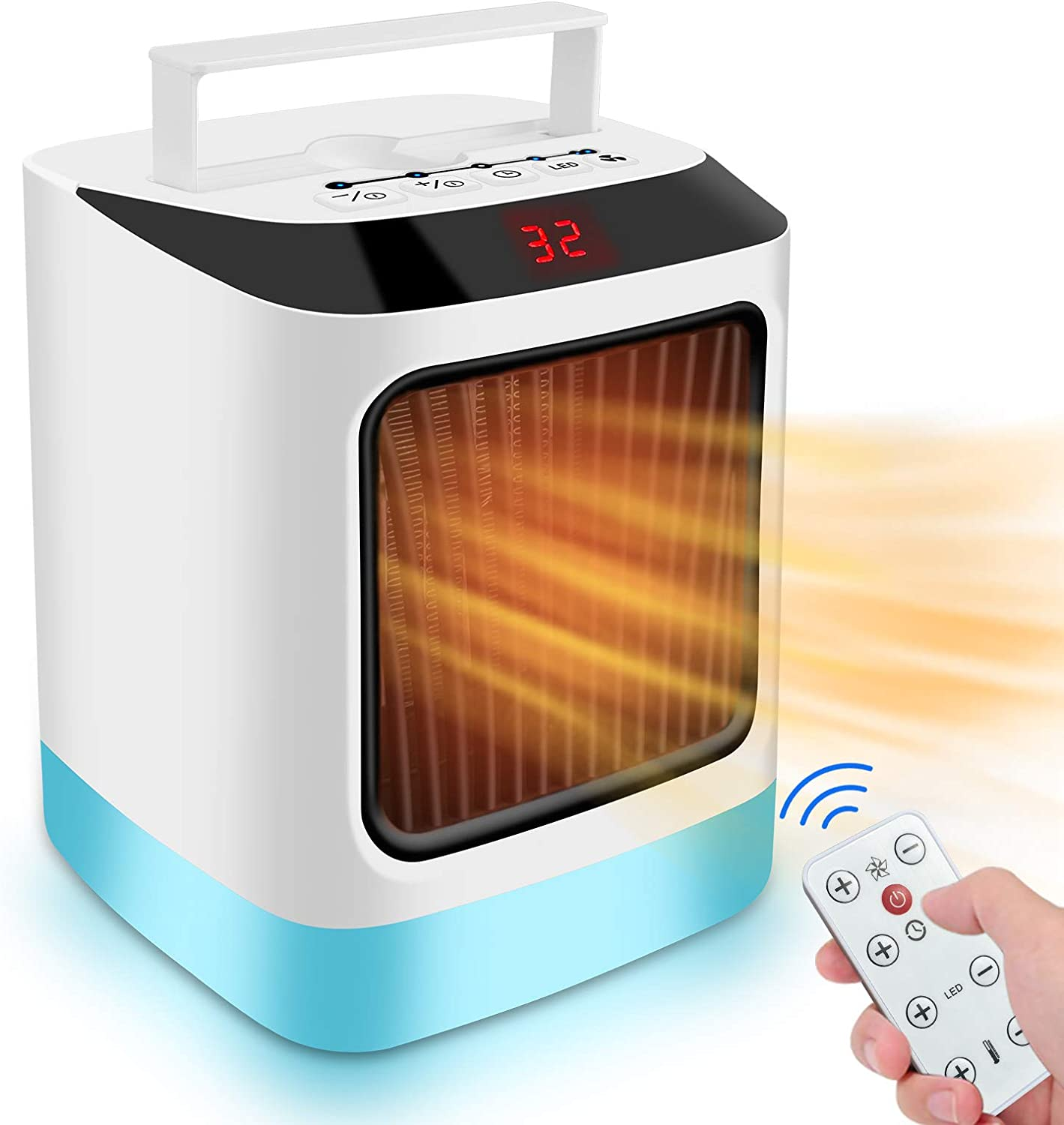 Portable Space Heater, Small Personal Warmer, Mini Desk Fan Electric Powered 800W Quick Heat Up Adjustable Thermostat Timing Setting Quiet for Office/ Home