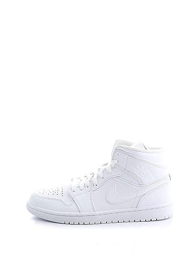 size 40 ccb81 05bc5 Nike Air Jordan 1 Mid, Baskets Hautes Homme, Blanc White 129, 41 EU