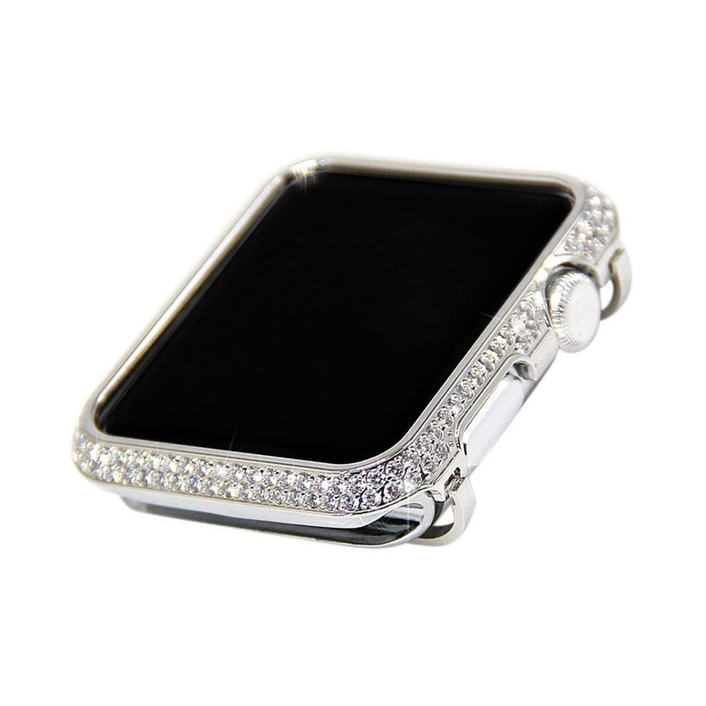 iRepair 38mm Sparkling Crystal Diamond Case Cover Bezel Compatible with Apple Watch 38mm Series 3 Series 2 Series 1(No Edition/Ceramic Version) - Silver (38mm) by iRepair