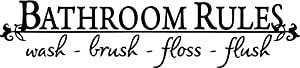 """Black 5.5"""" x 22"""" Bathroom Rules Wash Brush Floss Flush Quote Saying Wall Sticker Home Decal Decor for Bathroom"""
