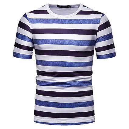 Men Striped T Shirt Casual Tee Top Crew Neck Cotton Slim Fit Blouses