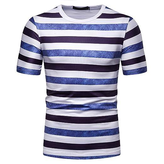 419855676 Men's Stripes T-Shirts Comfort Short-Sleeve Crew-Neck Casual Tee Top ...