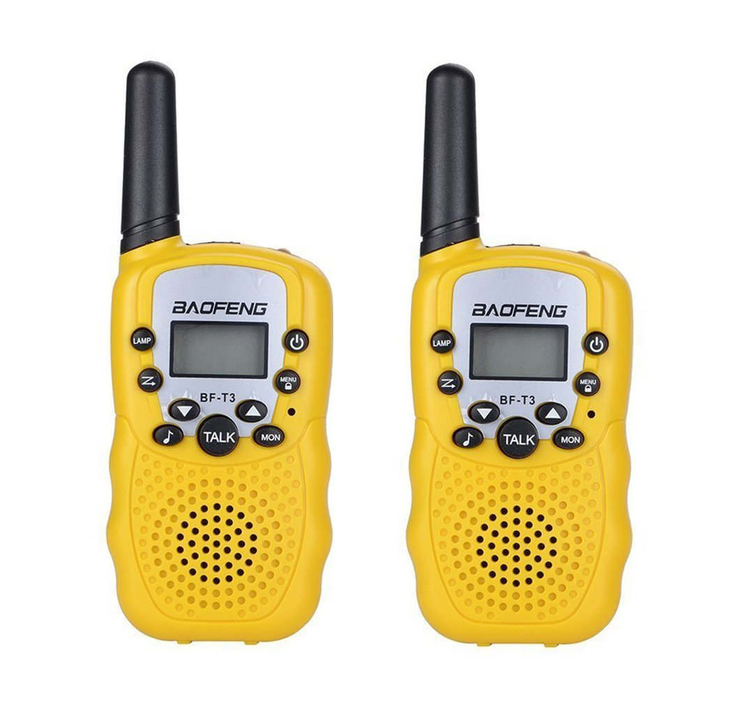 Long Range 22 Channels UHF 462-467MHz with Flashlight BF-T3 Black Pack of 2 Mengshen BF-T3 Kids Walkie Talkies Mini Rechargeable Two Way Radio for Children Family