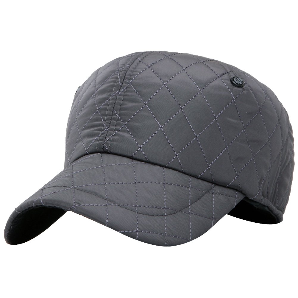 Men Winter Waterproof Quilting Cotton Fleeced Baseball Cap Hat with Earflaps Ear HT_QLTBT_NVY