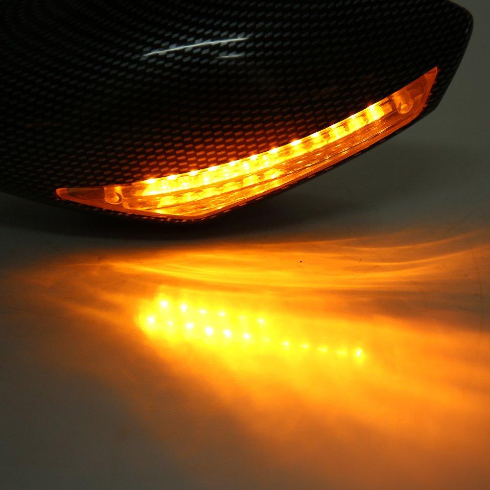 Qiilu R/étroviseurs Lat/éraux de Moto Miroir Arri/ère Vue et Embouts de Guidon avec Clignotant LED Int/égr/és de Fibre de Carbone pour YZF600// CBR 125R// 150R// 250R// Ninja 250R