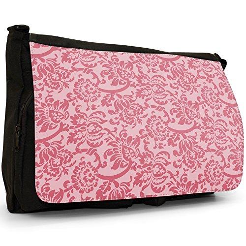 Floral Laptop Shoulder Wallpaper Large Messenger Black Canvas Bag Red School Design rrwzpx