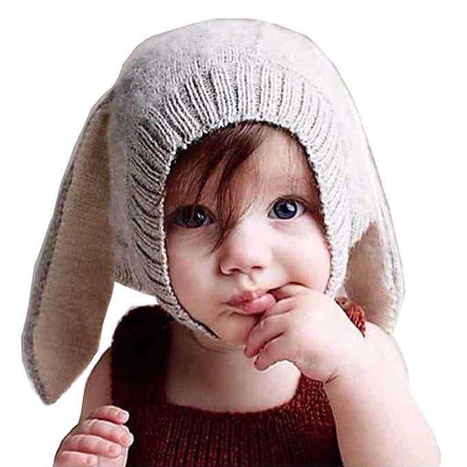 3ea8d24149072 Tuopuda® Gorras Invierno Bebe Niño Niña Sombrero Orejas de Conejo Gorro de  Punto (Gris)  Amazon.es  Ropa y accesorios