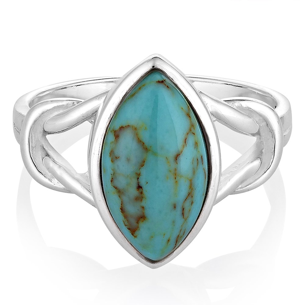 925 Sterling Silver Reconstituted Turquoise Gemstone Marquise Shape Knot Band Ring Size 9