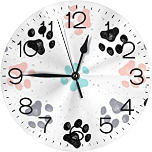 """N/W Colorful Paw Prints Wall Clock 10"""""""" Round,- Battery Operated Wall Clock Clocks for Home Decor Living Room Kitchen Bedroom Office"""