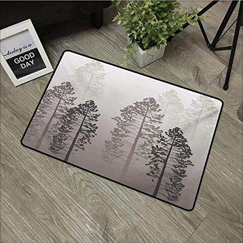 Clear Printed Pattern Door mat W24 x L35 INCH Country,Pine Trees in The Forest on Foggy Seem Ombre Backdrop Wildlife Adventure Artwork,Warm Taupe Easy to Clean, Easy to fold,Non-Slip Door Mat Carpet