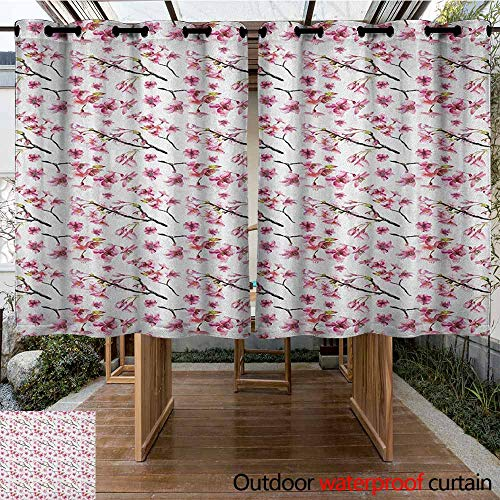 AndyTours Outdoor Curtain Panel for Patio,Cherry Blossom,Artistic Watercolor Style Oriental Pattern with Sakura Branch,Darkening Thermal Insulated Blackout,K183C160 Hot Pink Green Brown