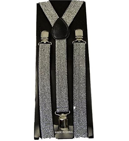 edd6c62294f Image Unavailable. Image not available for. Color  Glitter Suspenders -  Silver