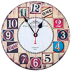 KI Store Wall Clock Decorative Silent Wall Clock Non Ticking Vintage Brown Wall Clocks with Big Numbers 12-Inch for Bedroom Living Room Kitchen Café Decorations