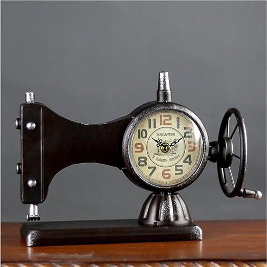 Máquina De Coser Creativa Reloj De Mesa Ornamento Hierro Retro ...