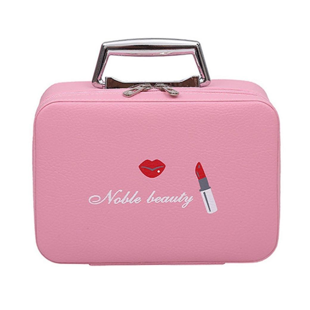 DDLBiz Women Girls Cat Cute Portable Travel Suitcase Makeup Bag Makeup Mini Makeup Train Case Zipper Storage (D)