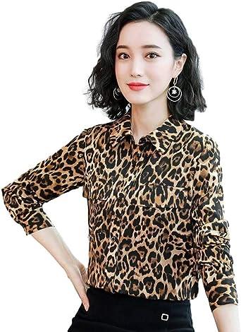 Idopy Gasa Elegante Oficina Mujer Leopardo Camisa con Botones ...