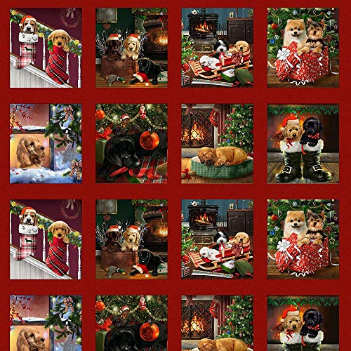 Fireside Pups Puppies Dogs Blocks Panel Under Christmas Tree Gifts 36 x 44 inches Panel by Henry Glass 100% Cotton Fabric 7191P-88