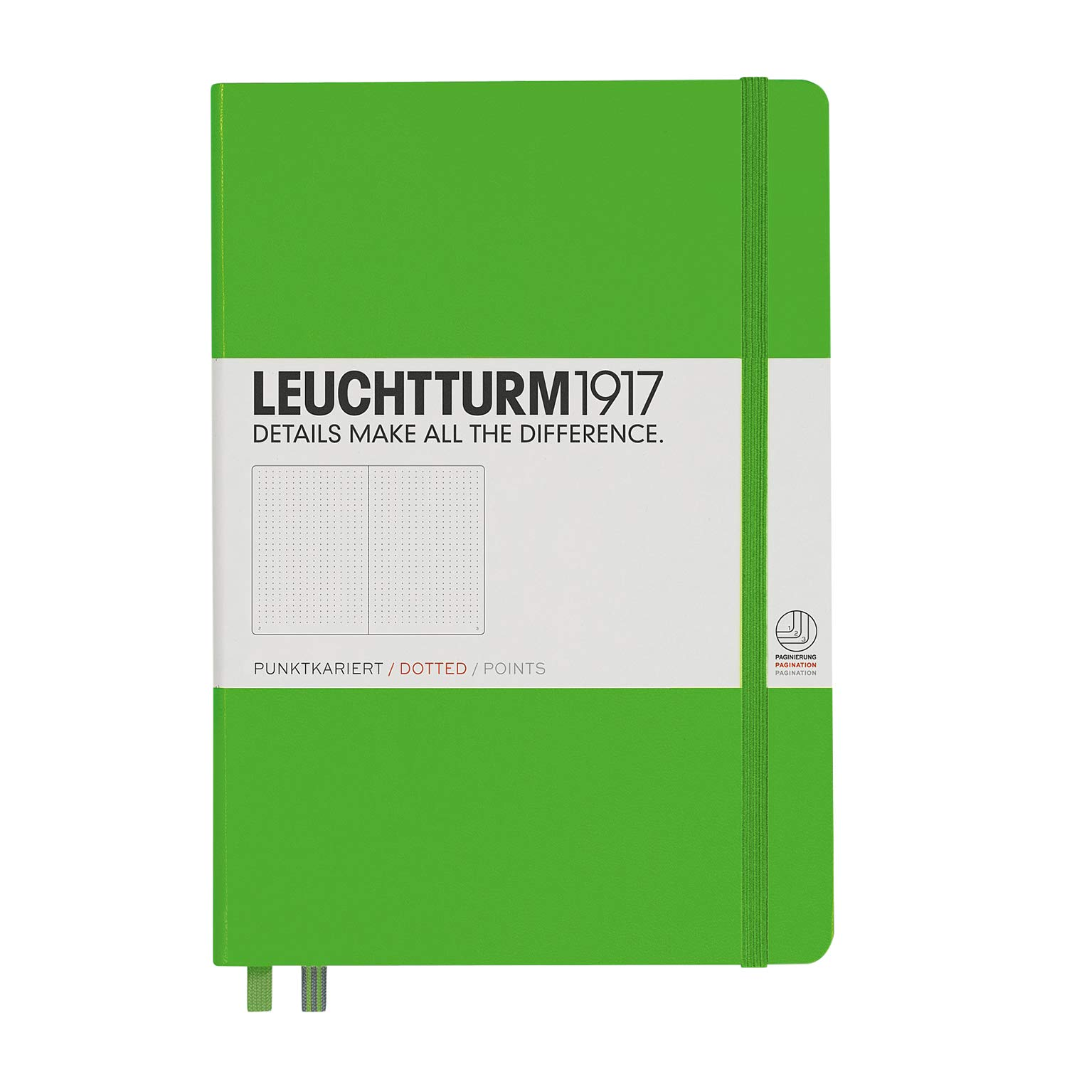 Leuchtturm1917 Medium A5 Dotted Hardcover Notebook [Fresh Green] - 249 Numbered Pages