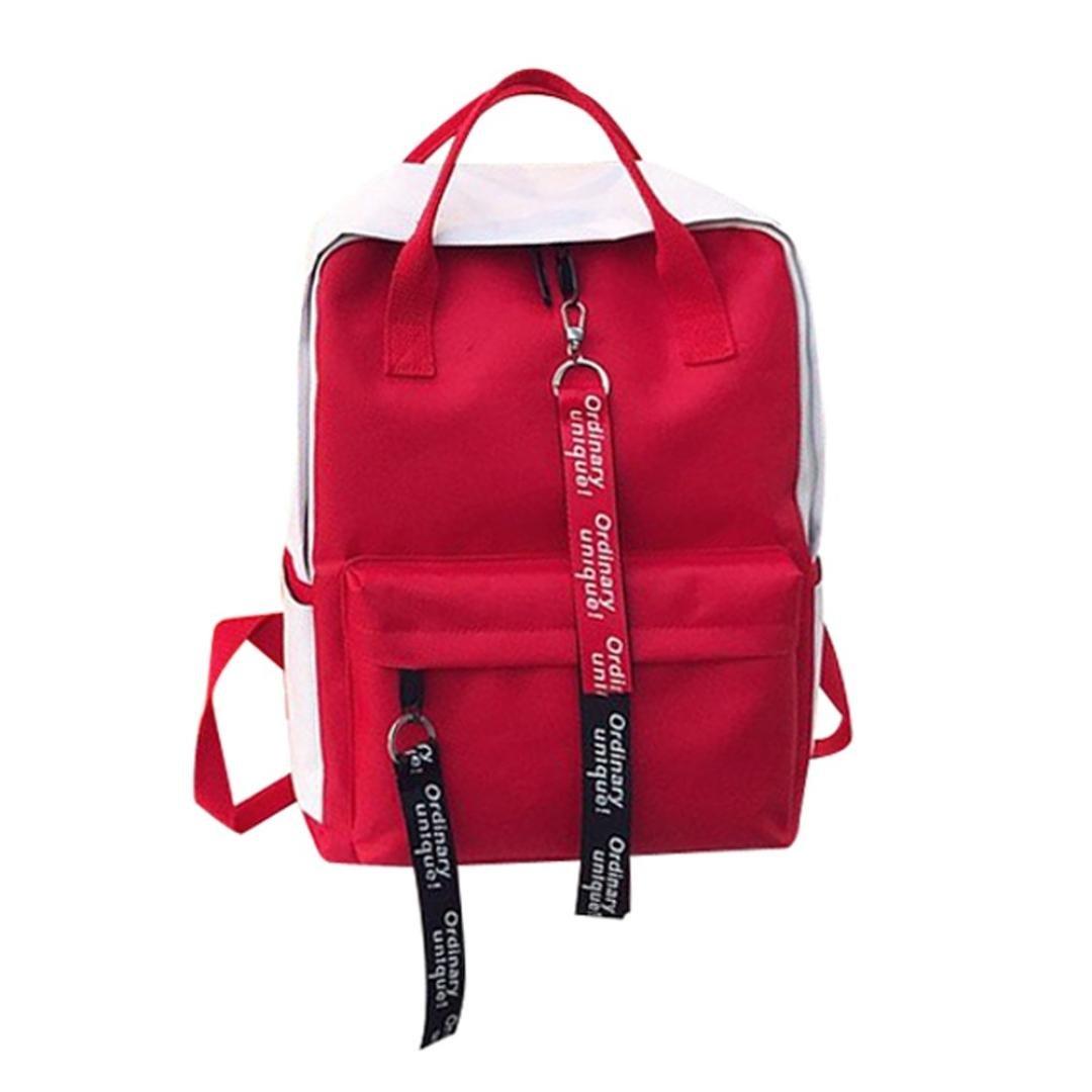 Exteren Leisure Zipper Bag Student Backpack Folding Bag Couple Travel Bag Shoulder Bag Satchels Bags for Women Girls Men Boy (Red)