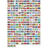 MADE IN THE USA!! 193 FLAG UNITED NATIONS WORLD FLAG SET with Bases--193 Rayon 4''x6'' Flags, One Flag for Each Country in the UN; 4x6 Miniature Desk & Table Flags, Small Mini Stick Flags