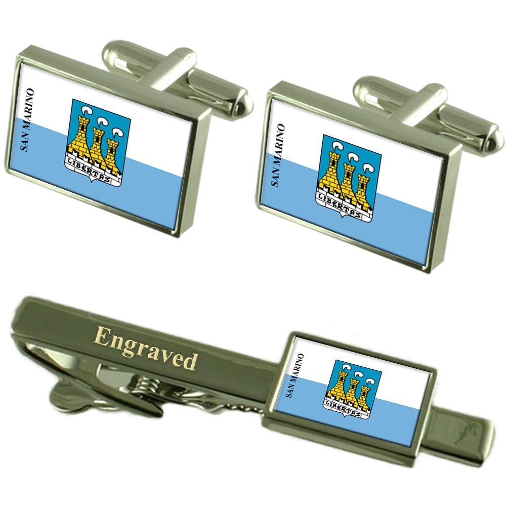 San Marino City San Marino Flag Cufflinks Engraved Tie Clip Set