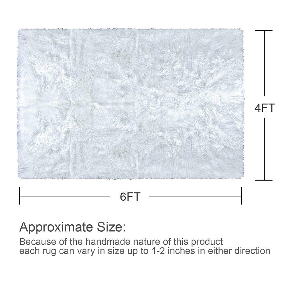 LOCHAS Stylish Fluffy Rug White Faux Fur Sheepskin Area Rugs for Bedroom, Soft Furry Rugs Bedside Living Room Carpet Nursery, 4x6 Feet by LOCHAS (Image #5)