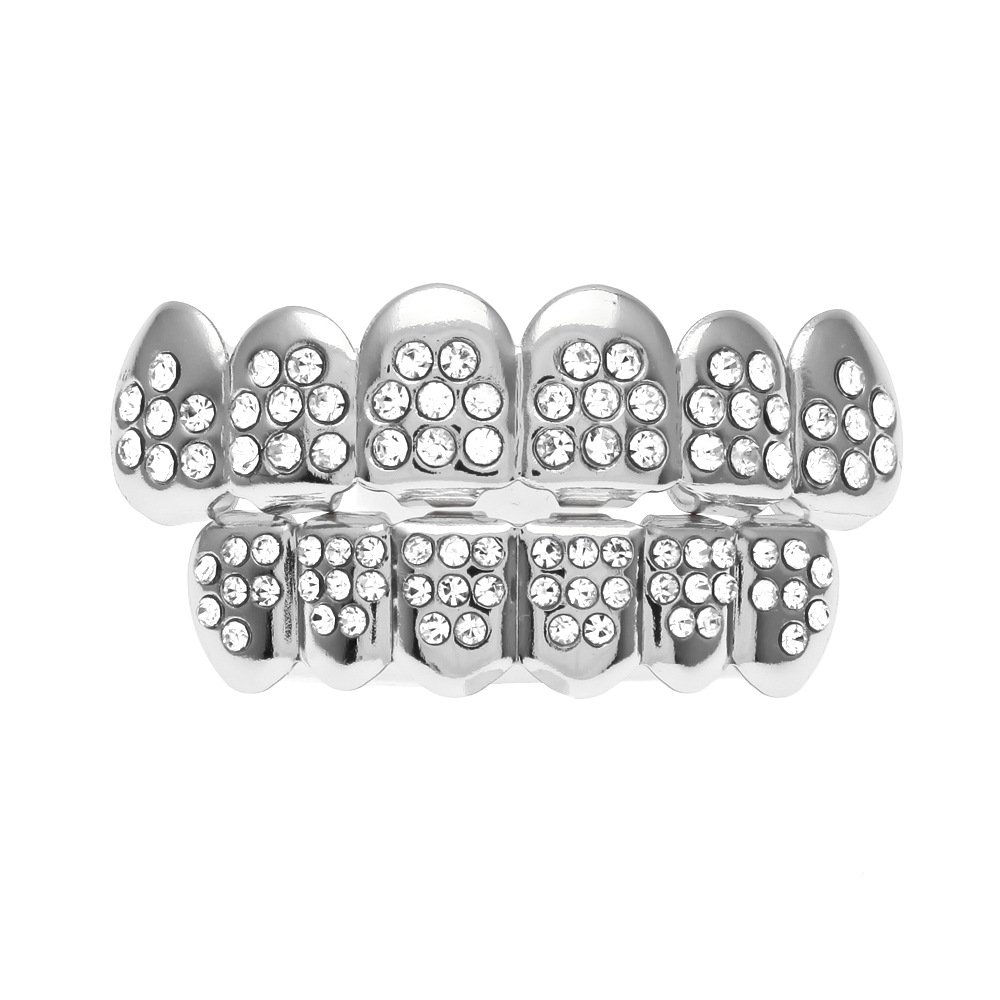 MCSAYS Fashion Hip Hop Hustle Crystal Teeth Grillz CZ Crystal Bling Bling Iced Out 18k Gold Plated Men's Shining