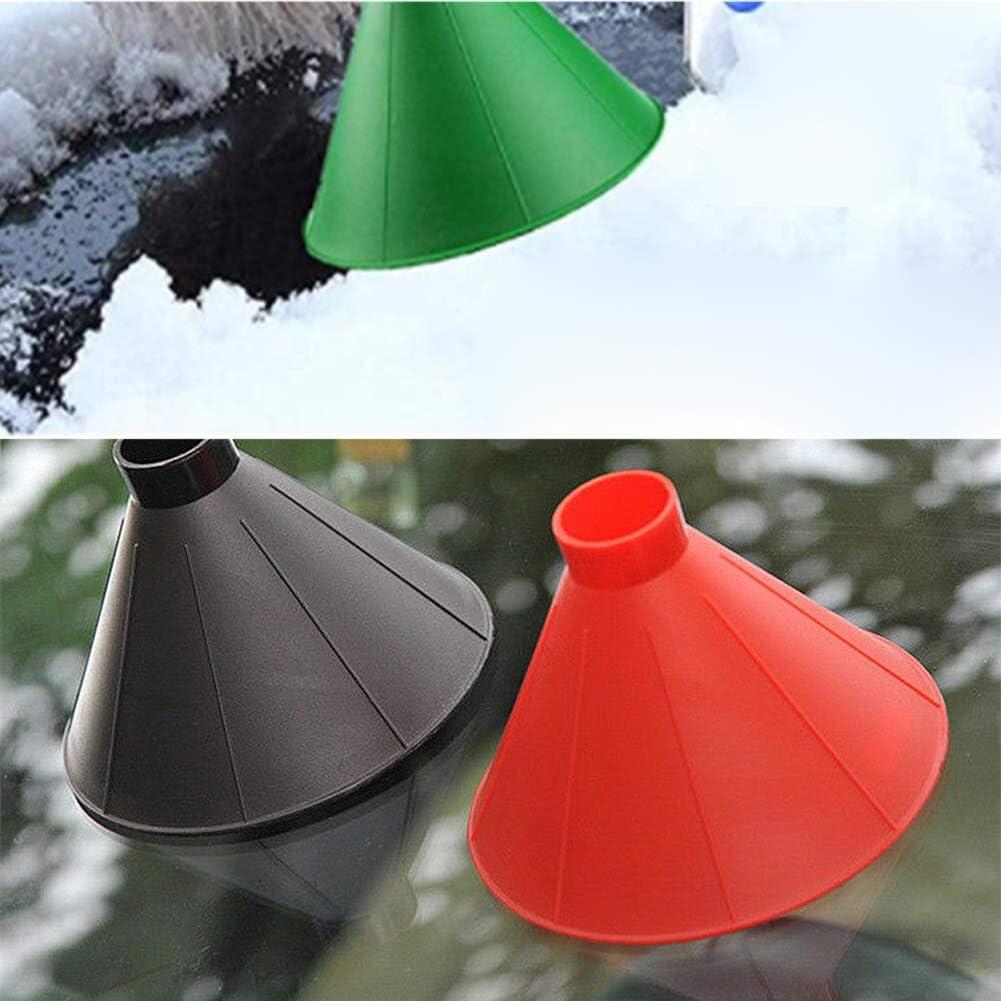 Round Windshield Ice Scraper,Cone Shaped Ice Scraper Round Funnel,Magic Ice Snow Remover Scraper Tool for Winter Outdoor Red,Black,Blue 3 pack