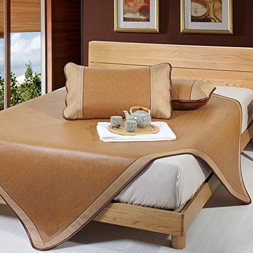 Rattan Bedding Set - 3pcs Rattan Mattress Topper Pad Cooling Summer Sleeping Mat and Pillow Shams Sets (Queen, Brown 2)