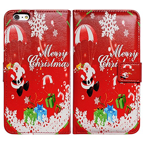 iPhone 6s Plus Case, iPhone 6 Plus Case, Bfun Packing Red Christmas Santa Claus Pattern Card Slot Wallet Leather Cover Case for Iphone 6 Plus/6s Plus