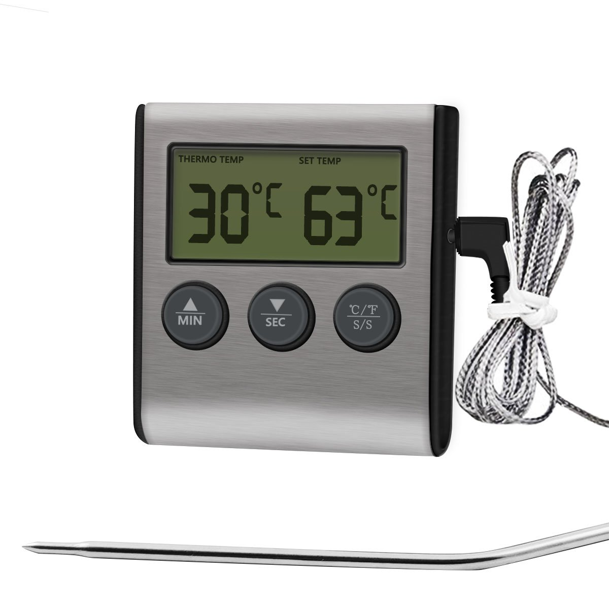 iAmotus Digital Oven Alarm Thermometer & Timer - Baking & Cooking Food Thermometer for Smoker Oven Kitchen BBQ Grill with Stainless Steel Temperature Probe