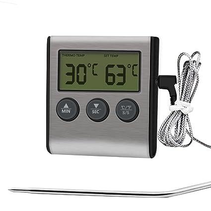 iAmotus Termómetro Digital de Cocina Termómetro Temporizador con Pantalla LCD Grande y Sonda Larga, Lee