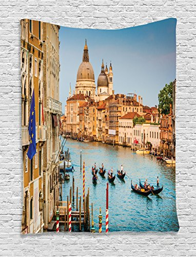 (Ambesonne Wanderlust Decor Collection, Gondola in Canal Grande with Basilica di Santa Maria della Salute at Sunset in Venice View, Bedroom Living Room Dorm Wall Hanging Tapestry, Ivory)