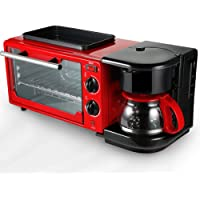LJ-MBJ Desayuno Tostadoras, Casa Automático Desayuno Máquina, Multifuncional Hornear Café Horno Lavable A Máquina, 3 En 1 Desayuno Maker