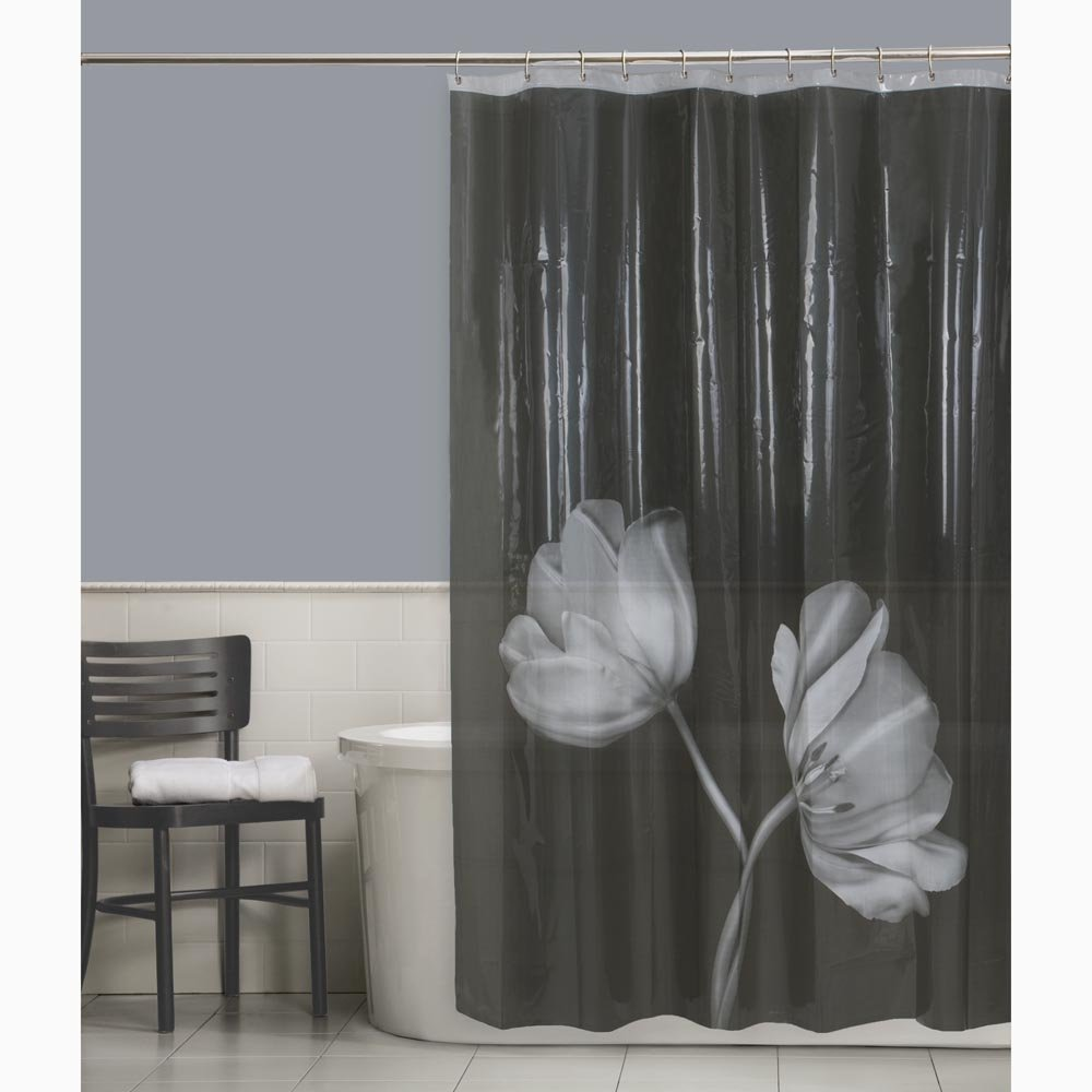Amazon.com: Maytex Tulip Photoreal Vinyl PEVA Shower Curtain, Black ...